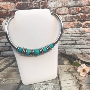 Jewelry - Self Curl Silver Tone Turquoise Choker Necklace